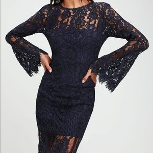 Lulu dress: Navy Blue lace with Bell sleeves